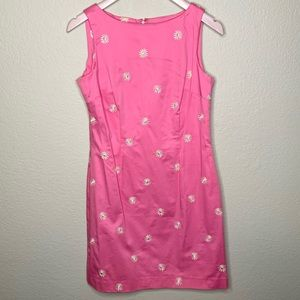 Amanda Smith Petite Daisy Embroidered Pink Dress